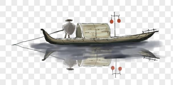 水墨画渔翁与船图片