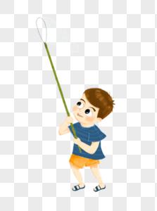 拿渔网的小男孩图片