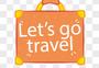 橙黄色手提箱一起去旅行标签图片