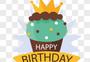 黄绿色蛋糕生日快乐标签图片