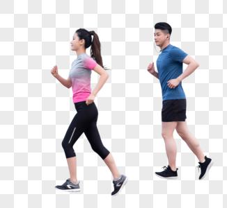 运动男女户外跑步锻炼健身图片