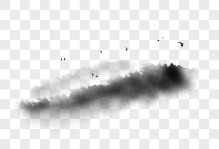 水墨山鸟图片
