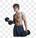 锻炼健身房强壮男性哑铃运动图片