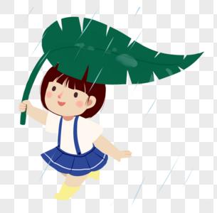小清新树叶躲雨女孩图片