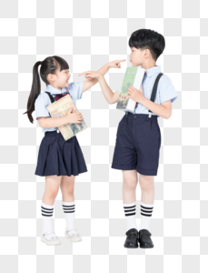 拿着书准备上学的儿童图片