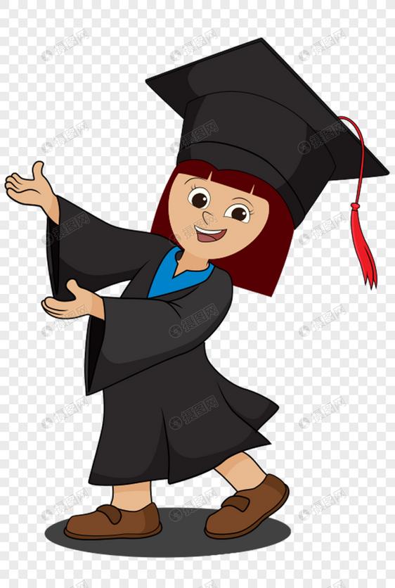 女孩穿着学士服图片