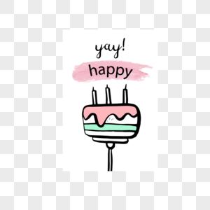 红白色蛋糕生日快乐标签图片