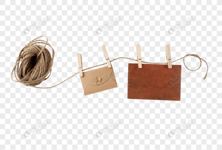 一捆棕色的细麻绳图片