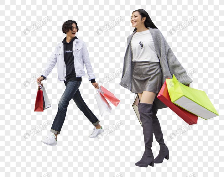 男女情侣在商场疯狂购物图片