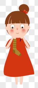 红裙子小女孩图片