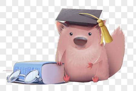 毕业书本小松鼠图片