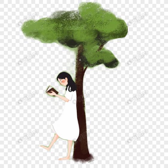 元素依靠在女孩素材大树psd女生_设计素材免啦操格式啦图片