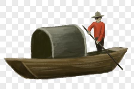 水墨画船图片