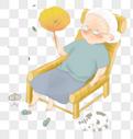 坐在躺椅上的老奶奶图片