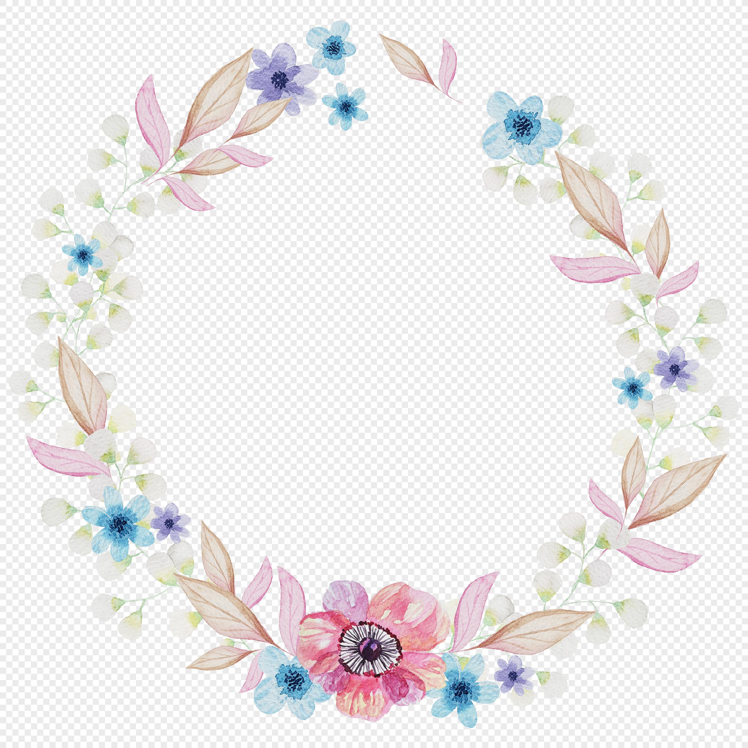 花卉植物元素 手绘花环.psd