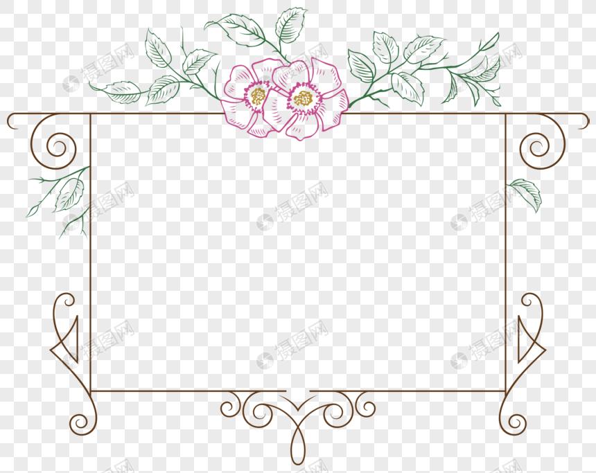 花朵边框手绘花卉边框矢量素材图片