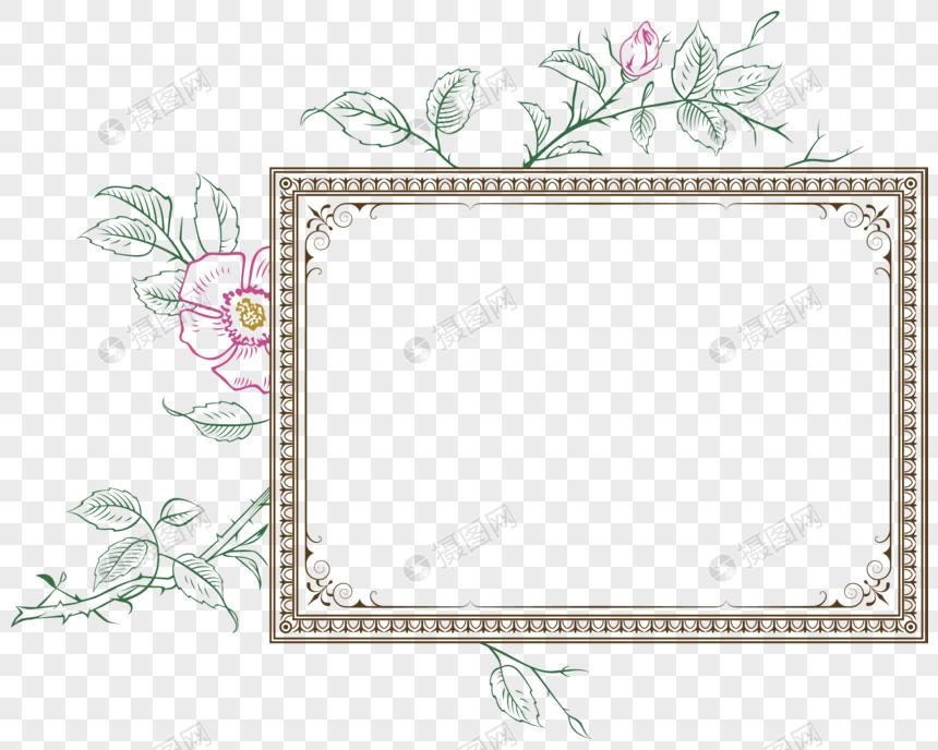 创意边框矢量手绘花卉边框素材图片
