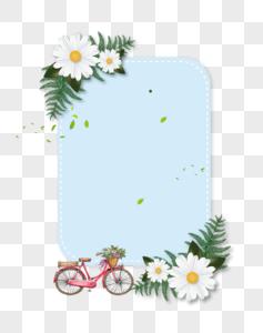 蓝色背景花朵装饰春夏促销边框图片