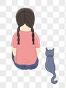 带猫咪的小女孩图片
