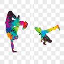 激情街舞运动剪影图片