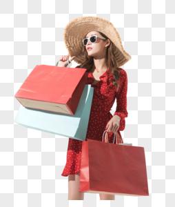 时尚女性夏日购物形象图片