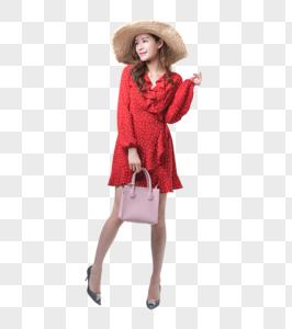 时尚女性戴太阳帽购物图片