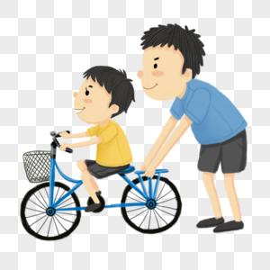 父亲教孩子骑车图片