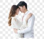 情侣拥抱头对头图片
