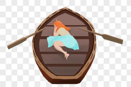 睡在船上的小女孩图片