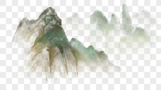 山水水墨元素图片