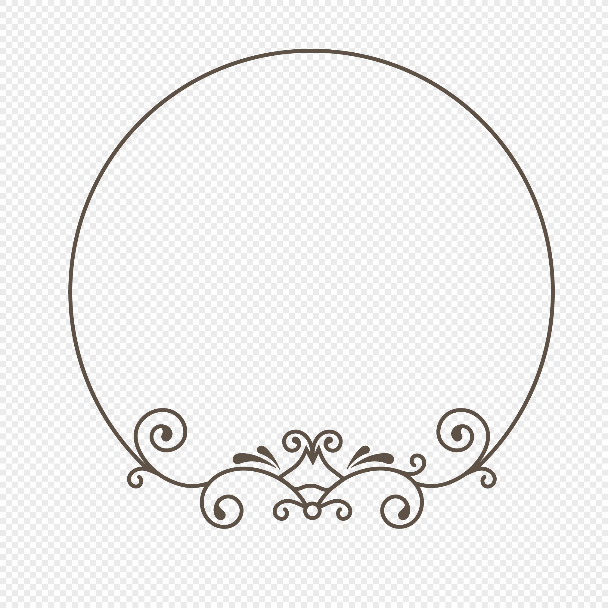 手绘线条圆形植物边框设计素材