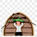 船上休息的女孩图片