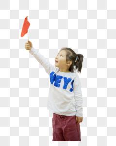 女孩手拿中国国旗图片