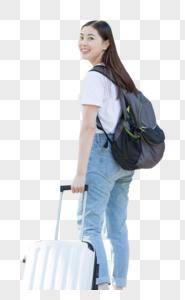 拉着行李箱的女生背影图片