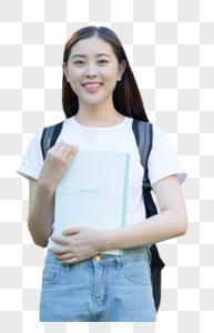 背着书包走在校园里的大学生图片