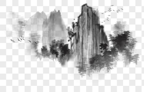 国画水墨写意山水图片