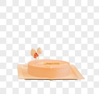 桌子上粉色的生日蛋糕图片