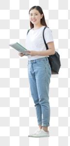 校园里背着书包拿着书的同学图片