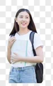 校园里背着书包抱着书的同学图片