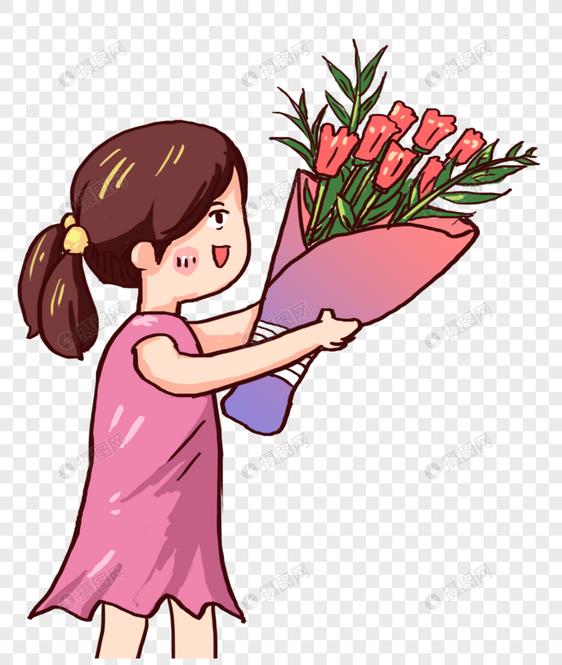 献花女孩元素素材格式_设计素材免费下载_vrf高清图片
