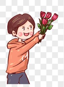 献花的小男孩图片