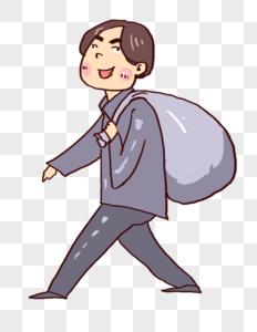 背袋子的男孩图片