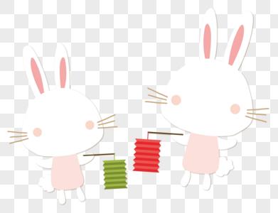 打着灯笼的玉兔图片