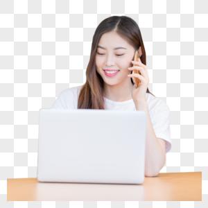 打电话休闲商务办公的年轻女性图片