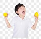 儿童小男孩手持柠檬道具图片