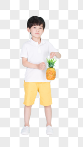 儿童小男孩手持菠萝道具图片