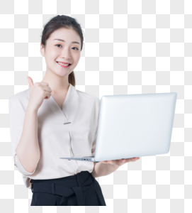 商务女性使用电脑图片