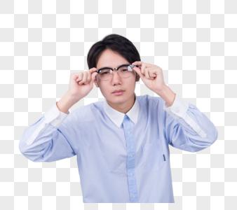 男子学生苦恼眼镜底图图片