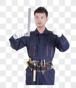 工人使用直角尺测量动作底图图片