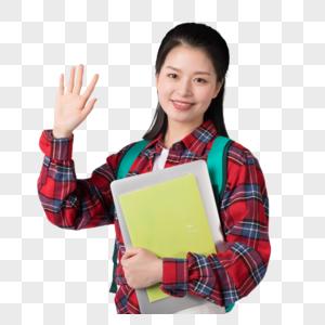 背着书包抱着书的大学生图片